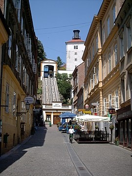 Cablecar and tower of Lotrscak, Zagreb, Croatia.jpg