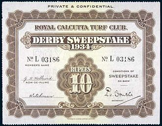 Sweepstake - A Calcutta Derby sweepstake ticket