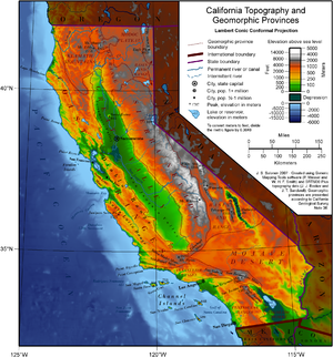 Geography of California - Map of California topography and geomorphic provinces