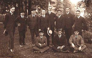 "Calotte (Belgium) - Belgian law students at Catholic University of Leuven (around 1921-1922) five of them wearing the ""calotte"" skull-cap."