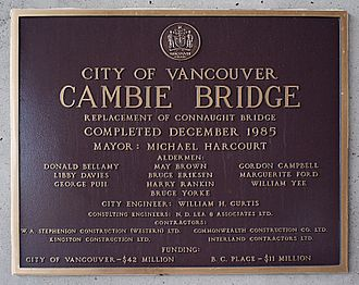 Cambie Bridge - Plaque at the south end of the bridge