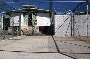 Guantanamo Bay detention camp - A Camp Delta recreation and exercise area in Guantánamo Bay, Cuba. The detention block is shown with sunshades drawn on 3 December 2002