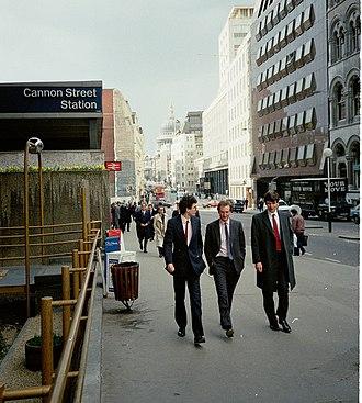 Cannon Street - Cannon Street pictured in 1987. View westward toward St Paul's.