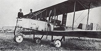 Caproni Ca.60 - Gianni Caproni (left) on board a Caproni Ca.32 bomber during World War I.