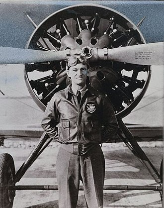 Claire Lee Chennault - Capt. C.L Chennault poses in front of a Boeing P-12E, 1934.