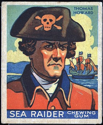 """Thomas Howard (pirate) - Image: Captain Thomas Howard from the 1933 World Wide Gum Co. """"Sea Raiders"""" trading card series"""