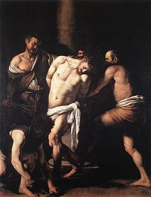 1607 in art - Image: Caravaggio Flagellation