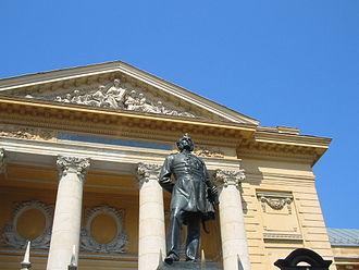 Carol Davila - Statue of Carol Davila by Karl Storck, in front of the University of Medicine and Pharmacy in Bucharest