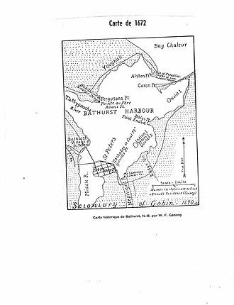 Bathurst, New Brunswick - Map of Bathurst Harbour prior to 1900, drawn by W. F. Ganong.