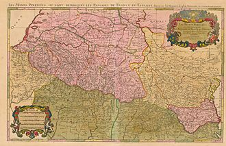 Hubert Jaillot - The Pyrenees, probably in 1694