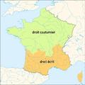 Carte du pays de droit coutumier et du pays de droit écrit (fr).png