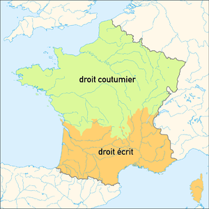 Coutume - Zone of customary laws (droit coutumier) in the north and of Roman law (droit écrit) in the south, before the French Revolution