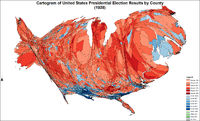 Cartogram of presidential election results by county