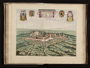 Cassel, Nord - Cassel in the first half of the 17th century (image from Flandria Illustrata - 1641)