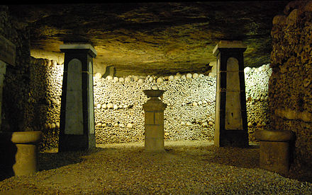 The Paris Catacombs hold the remains of approximately 6 million people. Catacombes De Paris.jpg
