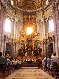 Cathedra Sancti Petri, behind the high altar of St. Peter's Basilica, Rome