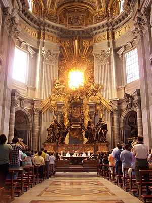 "Cathedra - Bernini's oversized Cathedra Petri, ""Chair of Peter"", in St. Peter's Basilica,  Rome, above and behind the altar"