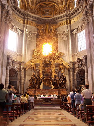 "Cathedra - Bernini's oversized Cathedra Petri, the ""Chair of Peter"", in St. Peter's Basilica, Rome, above and behind the altar"