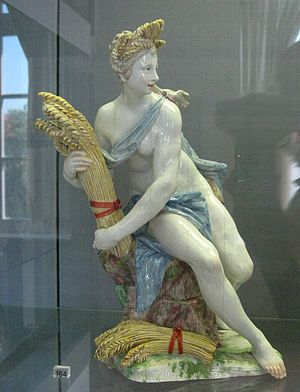 Ceres (mythology) - Porcelain model of Ceres with cereals by Dominik Auliczek of the Nymphenburg Porcelain Manufactory, late 18th century