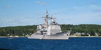USS Anzio (CG-68) - USS Anzio anchored at Boothbay Harbor, Maine in June 2008.