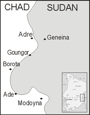 Battle of Adré - Map of the border area with Adré
