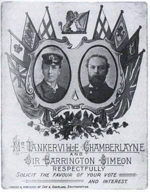 Tankerville Chamberlayne - Poster (believed to be for 1895 UK General election) of Tankerville Chamberlayne (left) and Barrington Simeon