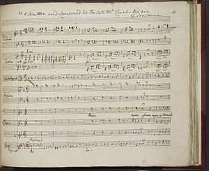 "Charles Dibdin - Manuscript in Dibdin's hand of ""Mourn Ye Damsels of the Court"""