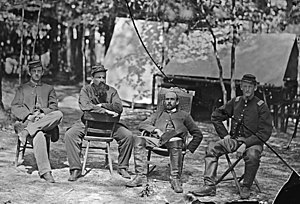 Charles Francis Adams Jr. - Captain Adams (second from right) with officers of the 1st Massachusetts Cavalry, August 1864