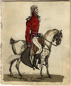 """Charles Stanhope, 4th Earl of Harrington - """"A noble aiddecamp"""", a contemporary etching of Charles Stanhope, 4th Earl of Harrington"""