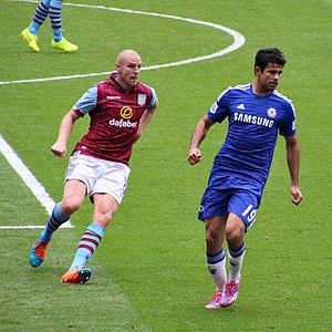Philippe Senderos - Senderos playing for Aston Villa against Chelsea in September 2014.
