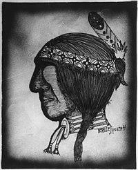 Cherokee High School Student's Painting of a Native American Wearing a Headband and Choker. - NARA - 281613.jpg