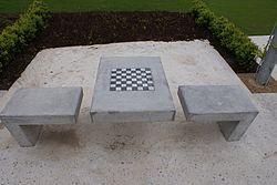 Outdoor chess at Father Collins Park