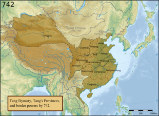 Geophysical map of East Asia, overlaid in brown with the extent of the Tang empire, and showing the extent and names of the provinces