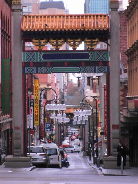 Chinatown, Melbourne. Multiculturalism has contributed to the development of a diverse local cuisine in Australia. China Town.JPG