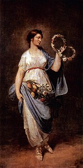 A painting of a youthful goddess holding wreaths of flowers and wearing clothing imitating that of ancient Greek or Rome.