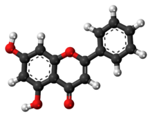 Ball-and-stick model of chrysin