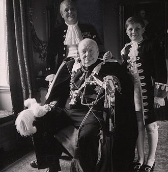 Randolph Churchill - Randolph with father (seated) and son Winston, in the ceremonial robes of the Order of the Garter