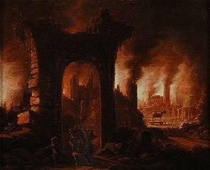 De brand van Troje, met vluchtende mensen en het paard van Troje