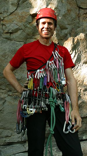 Rock-climbing equipment - Image: Climber with equipment