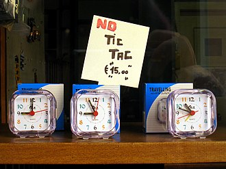 "Onomatopoeia - A sign in a shop window in Italy proclaims ""No Tic Tac"", in imitation of the sound of a clock."