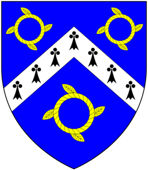 John Clotworthy, 1st Viscount Massereene - Arms of Clotworthy: Azure, a chevron ermine between three chaplets or