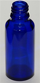 blue glass bottle with neck