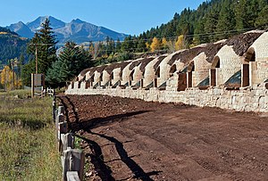Redstone Coke Oven Historic District - Image: Coke ovens being restored, Redstone, CO