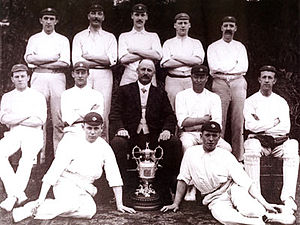 Colne Cricket Club - The players of Colne CC with the Lancashire League trophy won in 1910.