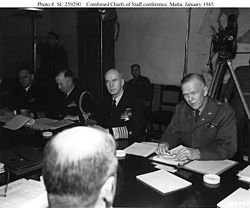 As assistant chief of naval operations for logistics plans (seated, far left), with the Combined Chiefs of Staff in Malta, July 31, 1945