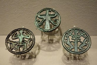 Anau - Compartmented seals of eagle, monkey, and goddess, Turkmenistan or northeast Iran, early Bronze Age, c. 2200-1800 BC, bronze - Museum of Fine Arts, Boston