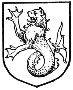 Sea-lion - A sea-lion, illustrated in A Complete Guide to Heraldry (1909).