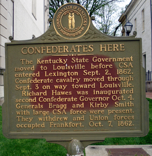 Richard Hawes - A historical marker in Frankfort, Kentucky documents Hawes' inauguration as Confederate governor