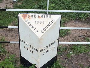 A536 road - Image: Congleton Milestone 2599