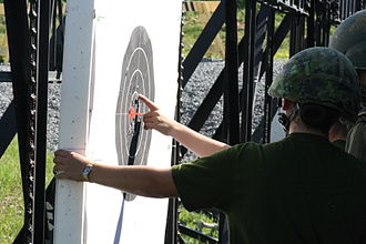 Connaught National Army Cadet Summer Training Centre - Cadets on the Fullbore Marksman Phase I Course mark targets in the butts at Connaught Range and Primary Training Centre (CRPTC), in Ottawa, Ontario